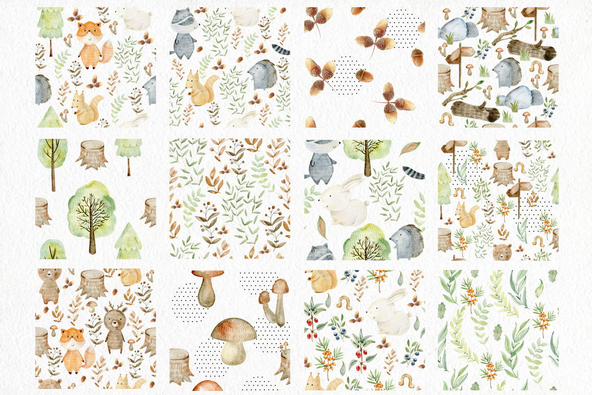 Woodland. Watercolor set. example image 5