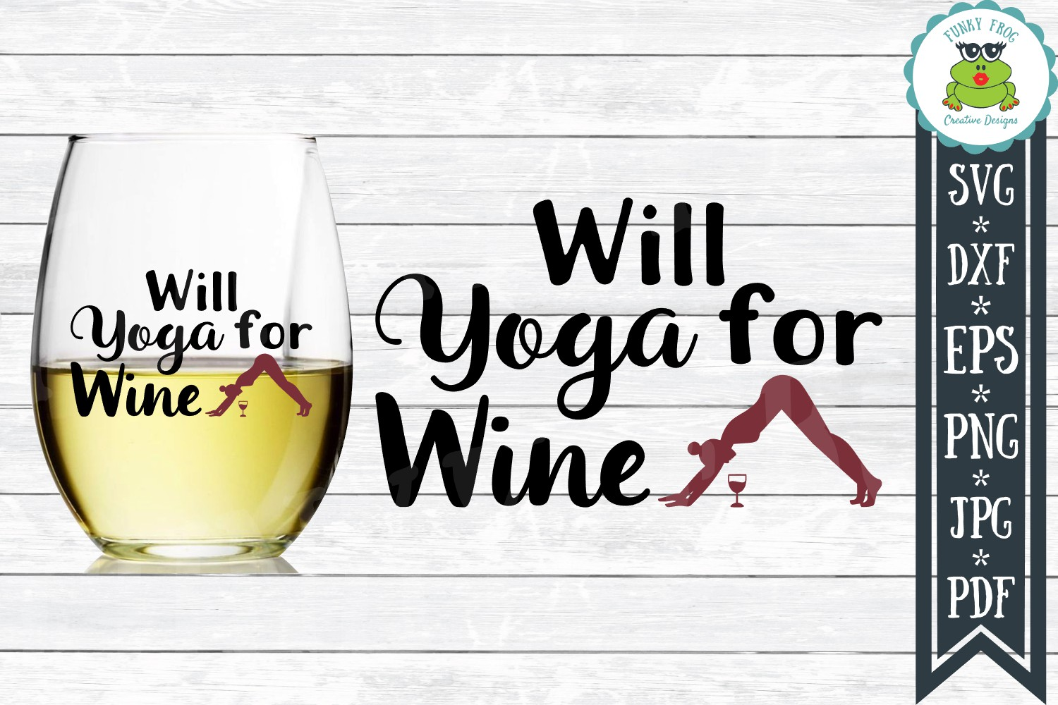 Will Yoga for Wine - SVG Cut File for Crafters example image 1