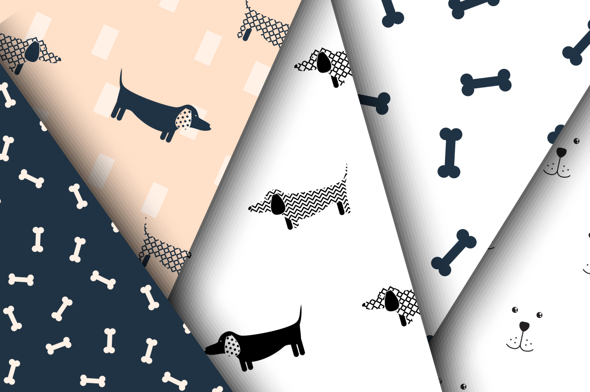 Mischievous Dogs seamless patterns example image 3