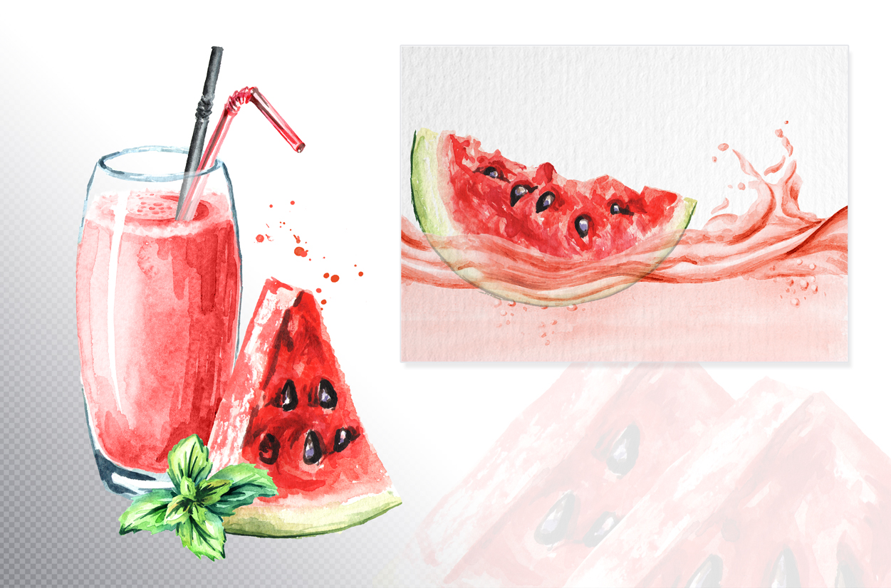 Watermelon. Watercolor collection example image 5
