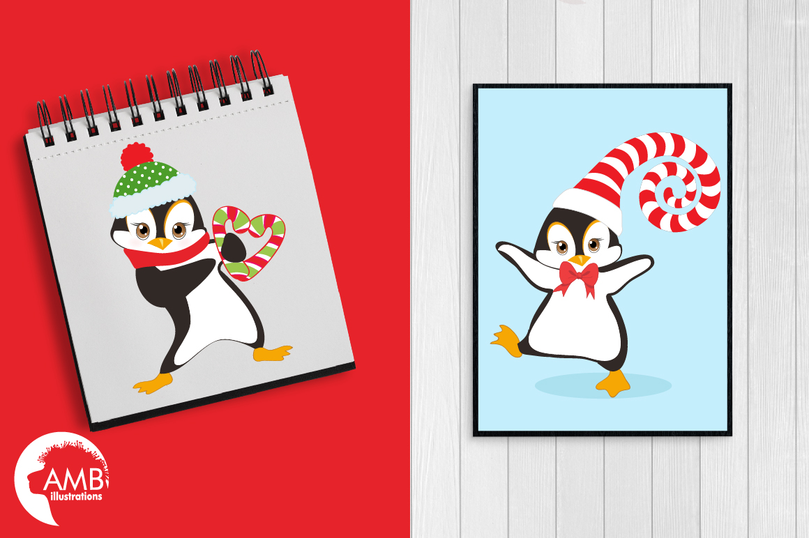 Winter Penguins cliparts, graphics, illustrations AMB-307 example image 5