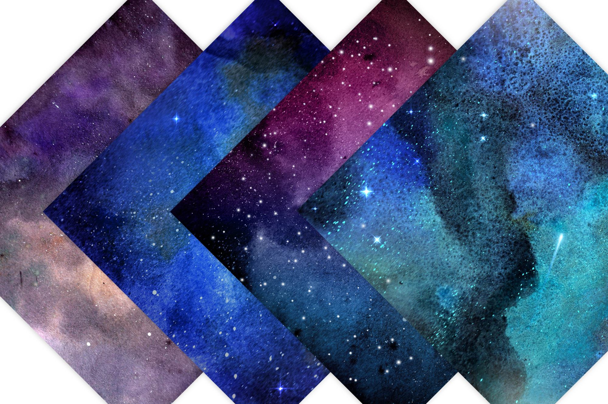 Watercolor Galaxy Digital Prints - Digital Papers example image 2