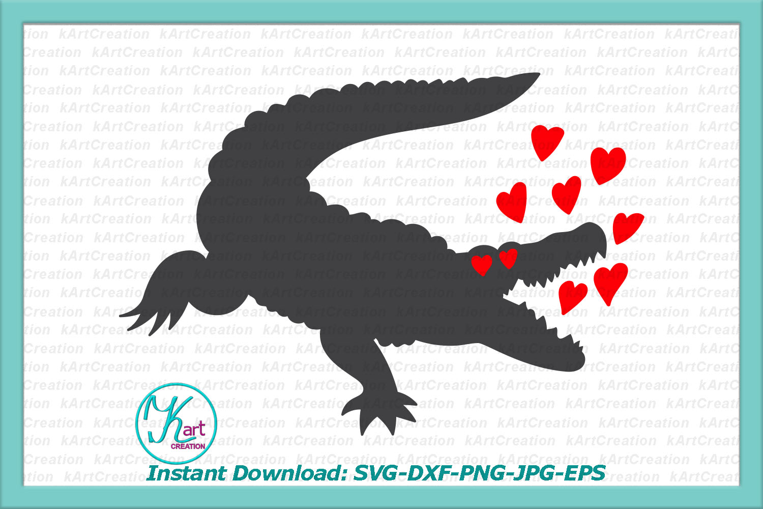 Valentine's day alligator crocodile with hearts svg dxf file example image 1