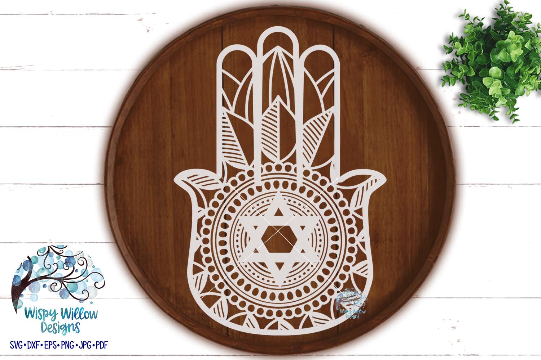 Hamsa Hand SVG   Star of David   Jewish SVG Cut File example image 2