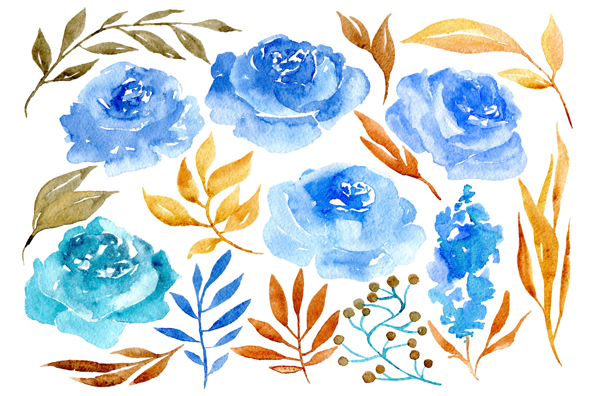 Blue watercolor flowers example image 2