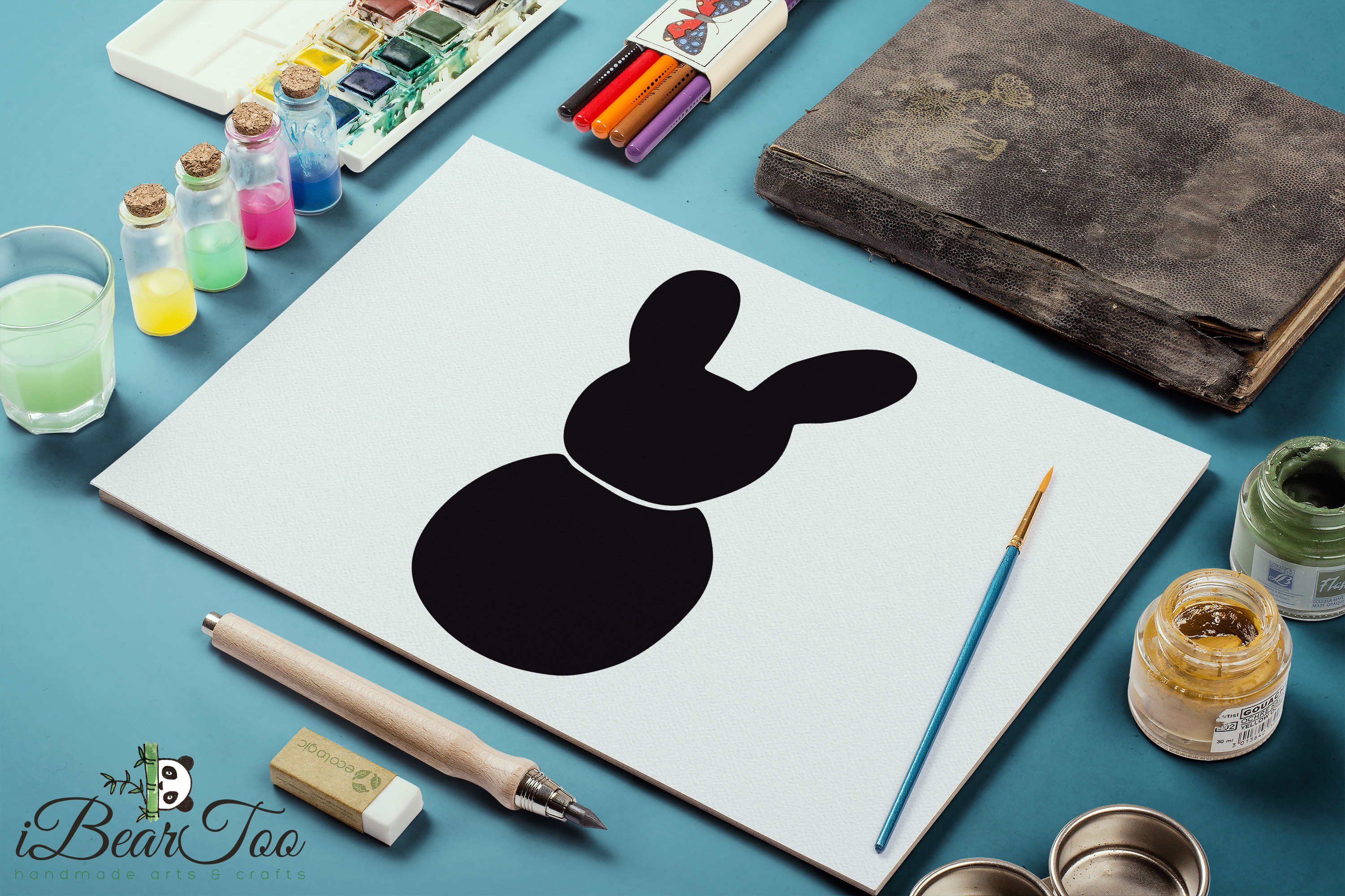 Bunny SVG Black Clipart Rabbit Drawing Vector Cut Files example image 10