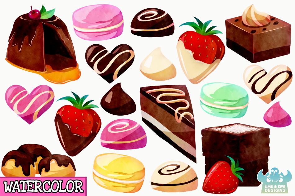 Dessert Watercolor Clipart, Instant Download Vector Art example image 2