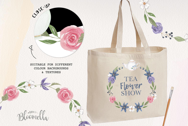 Afternoon Tea Wreaths Watercolor 6 Flowers Leaves Purple example image 2