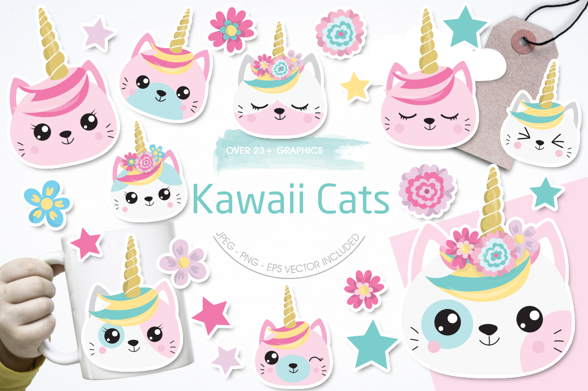 Kawaii Cats graphic and illustrations example image 1