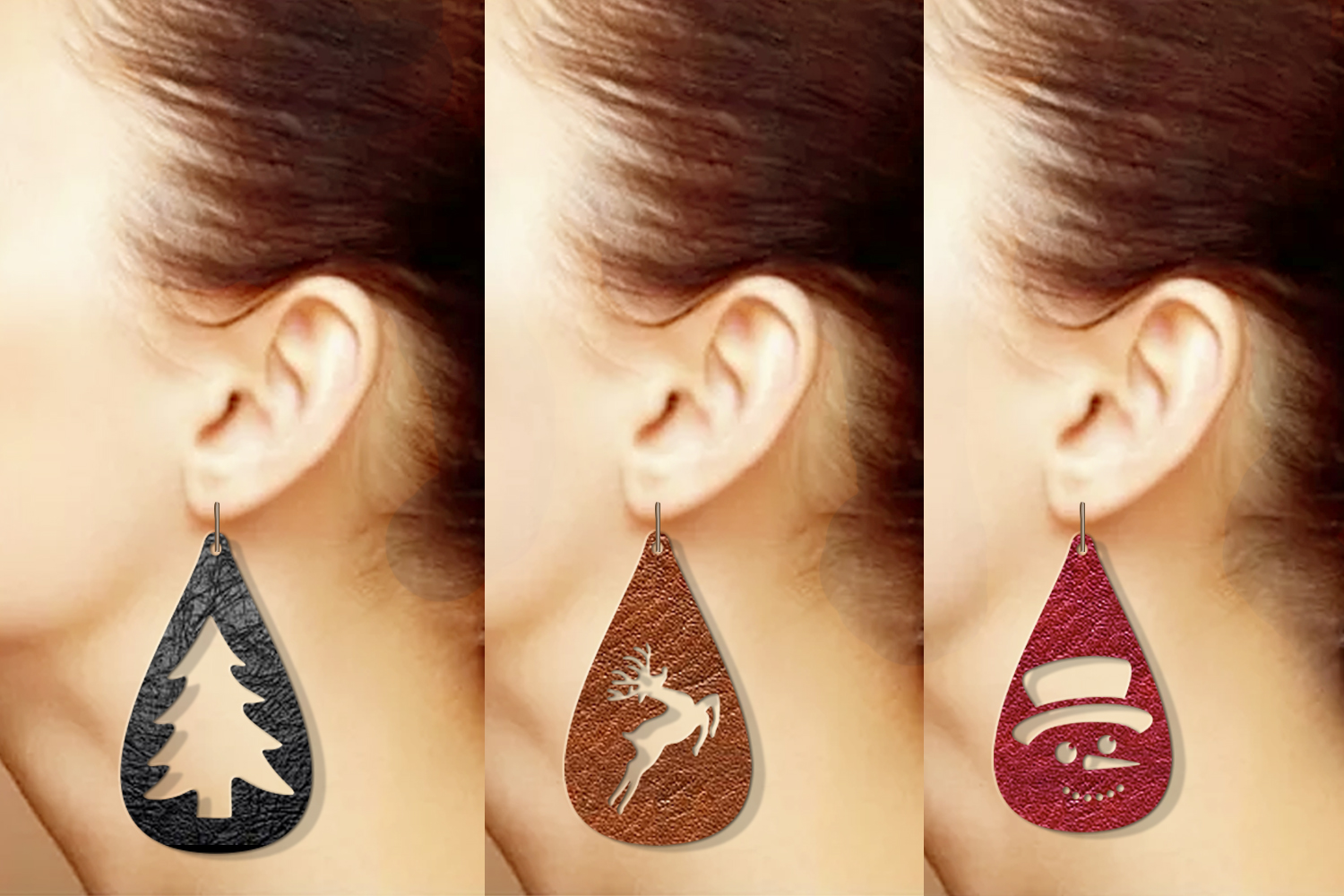 10 Christmas earrings svg Leather earrings svg Necklace svg example image 3