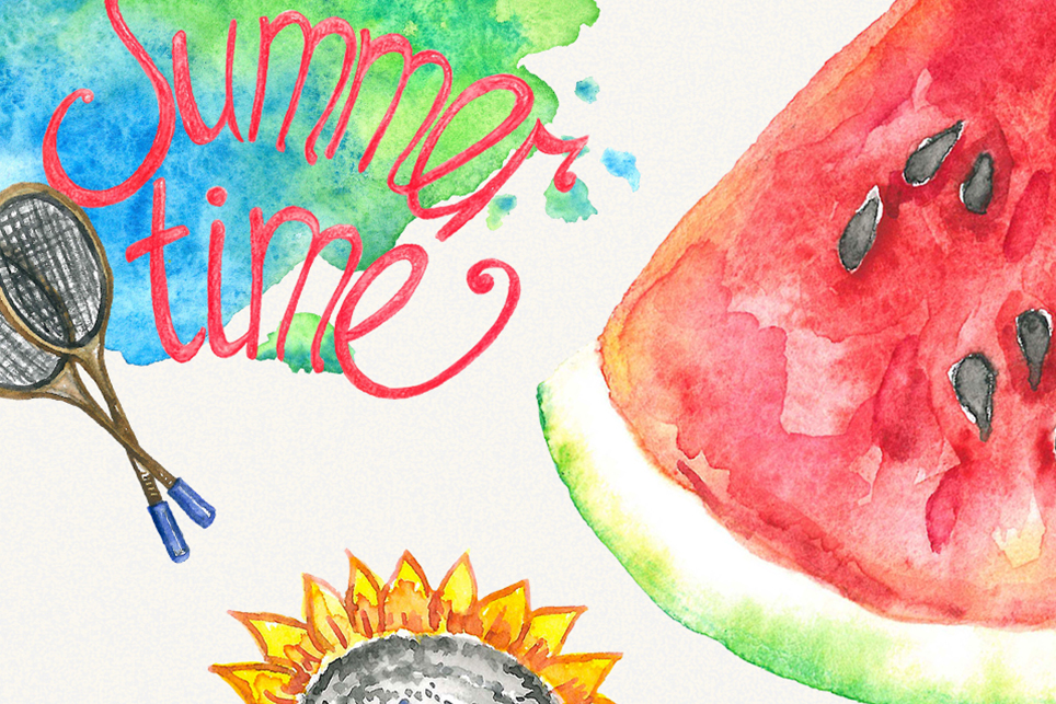 Summer clipart, sea clipart, travel clipart, watercolor example image 4