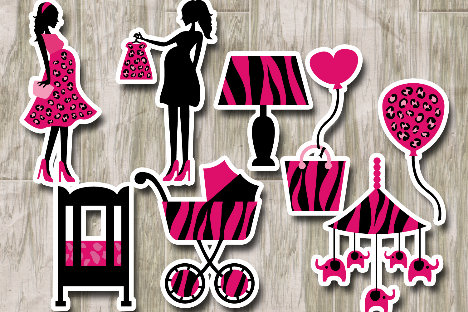 Mom to be safari animal prints pink black - Baby Shower example image 2