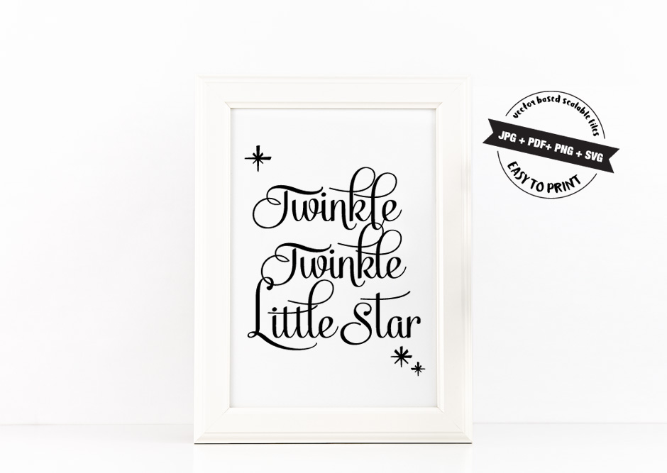 Twinkle Twinke Little Star Quote Inspirational Poster to Print in Black + SVG files example image 2