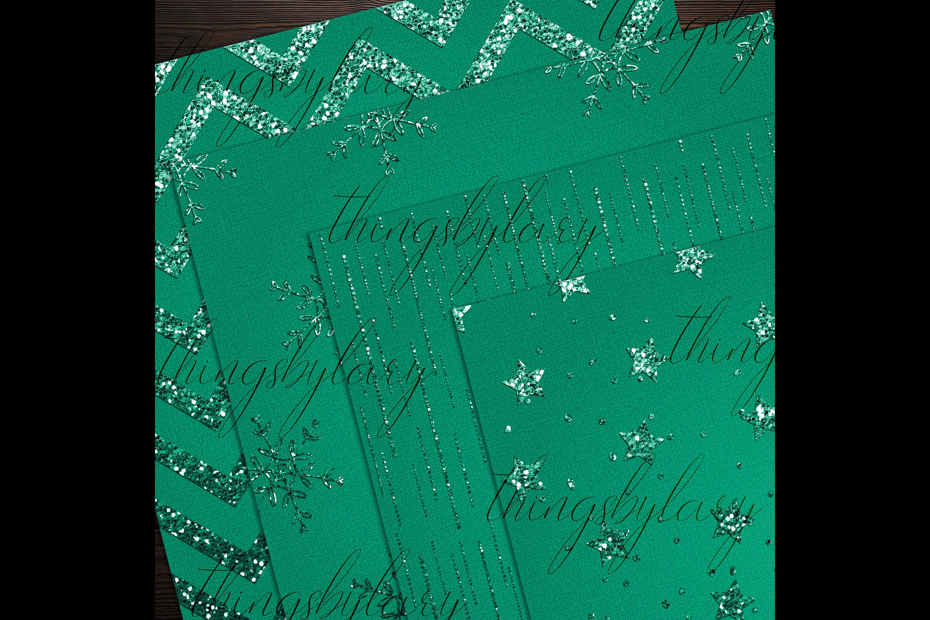 16 Red and Green Glitter Christmas Printable Digital Papers example image 7
