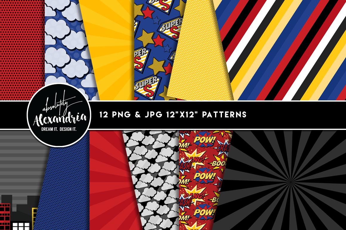 Super Boy Clipart Graphics & Digital Paper Patterns Bundle example image 2