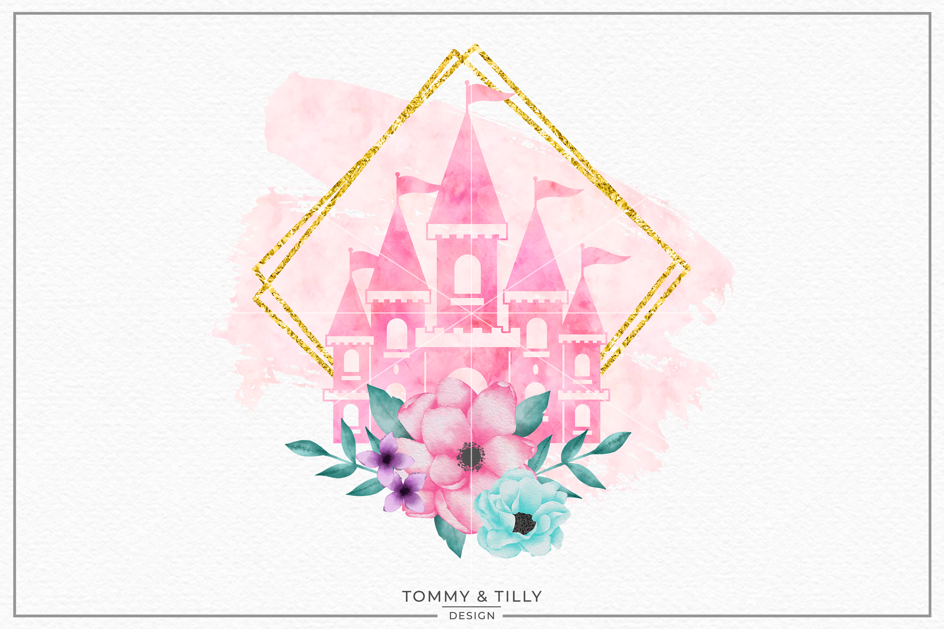 Pink Castle Gold Frame- Sublimation PNG Clipart example image 1