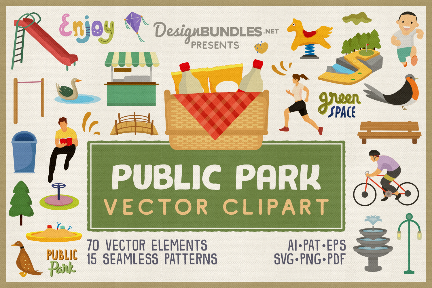Public Park Vector Clipart and Seamless Pattern example image 1