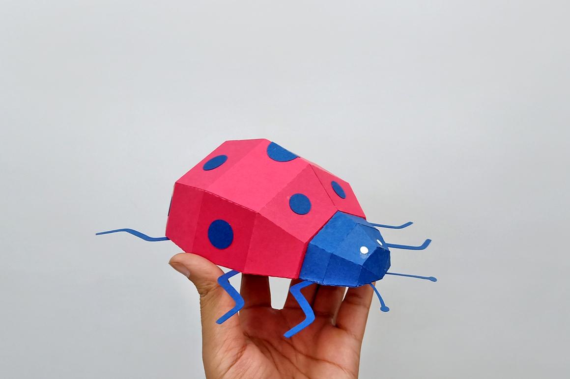 DIY Papercraft Ladybug,Lady bug,Lady beetle,Ladybug svg,dxf example image 3
