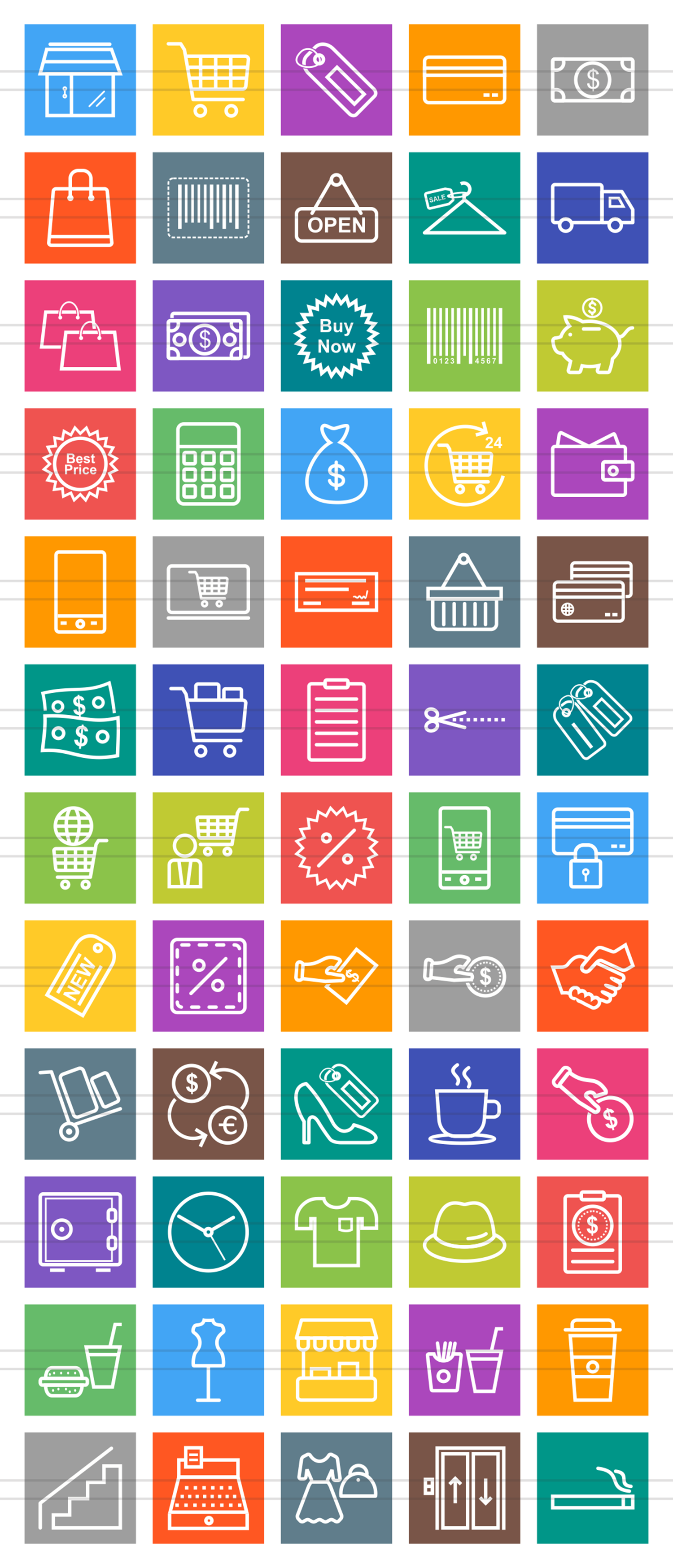 60 Shopping Line Multicolor B/G Icons example image 2