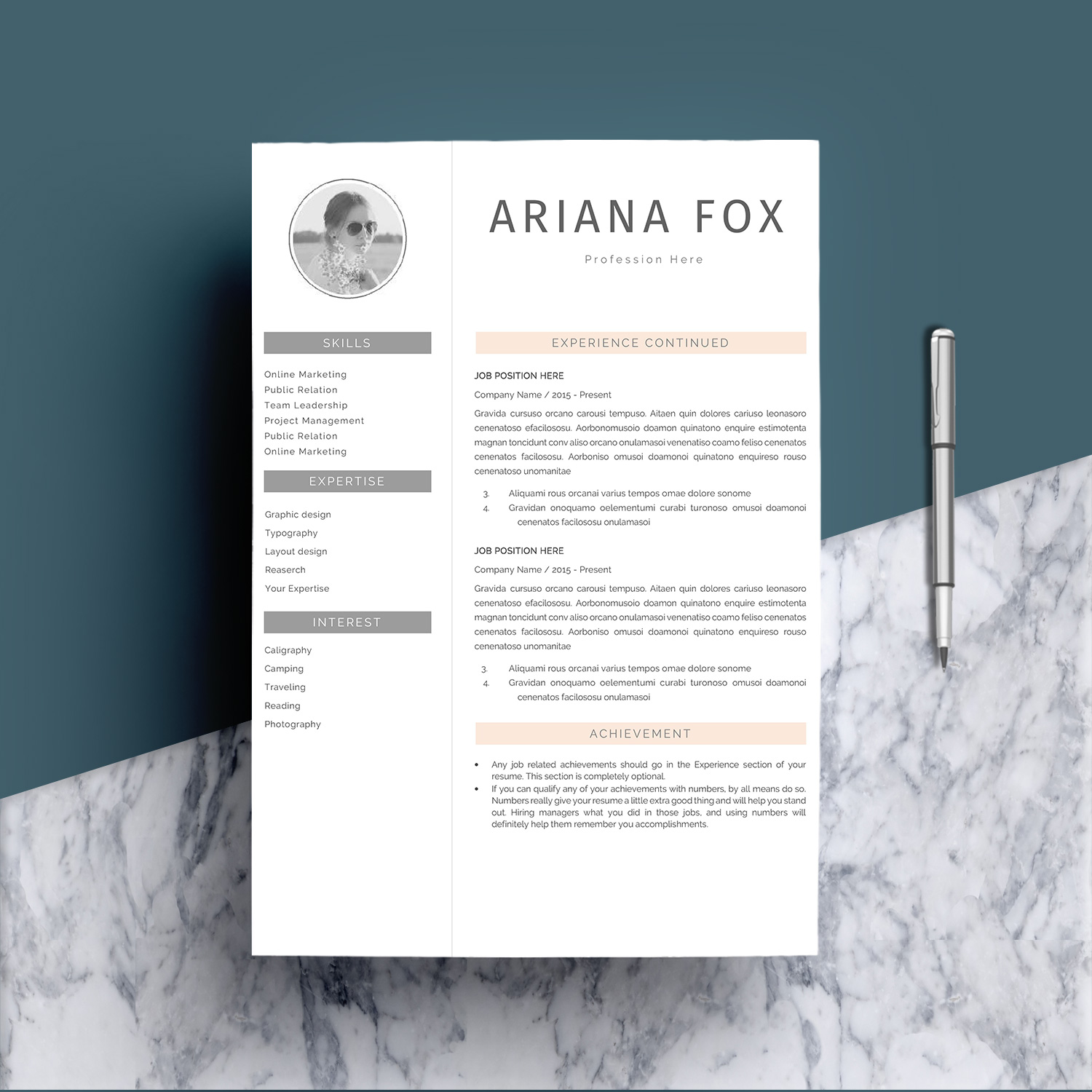 Creative Chic Resume Template Design example image 3