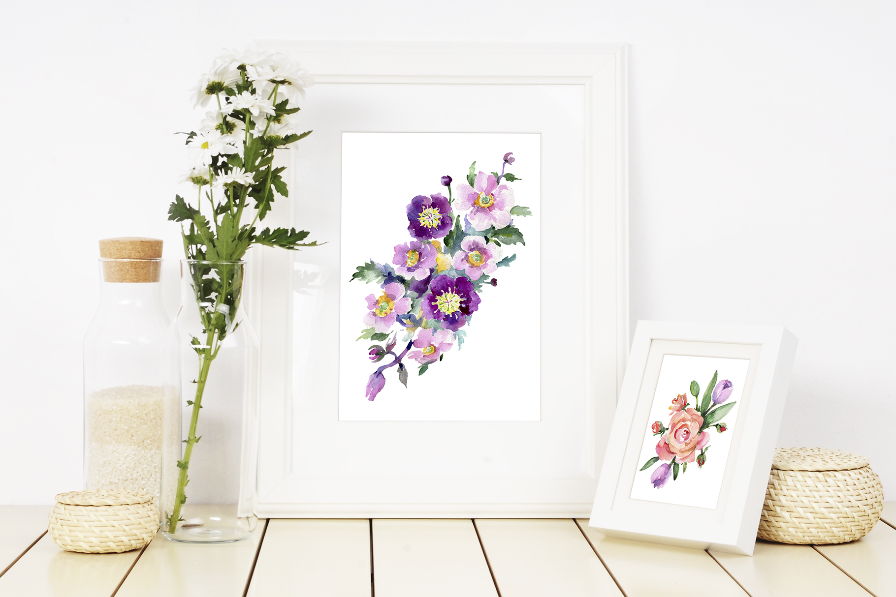 Bright bouquet of watercolor flowers png example image 5