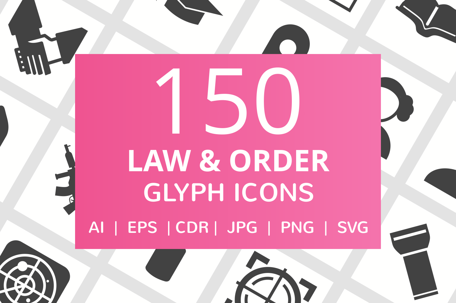 150 Law & Order Glyph Icons example image 1