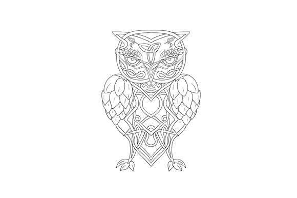 Hops and Barley Owl Celtic Knotwork example image 1