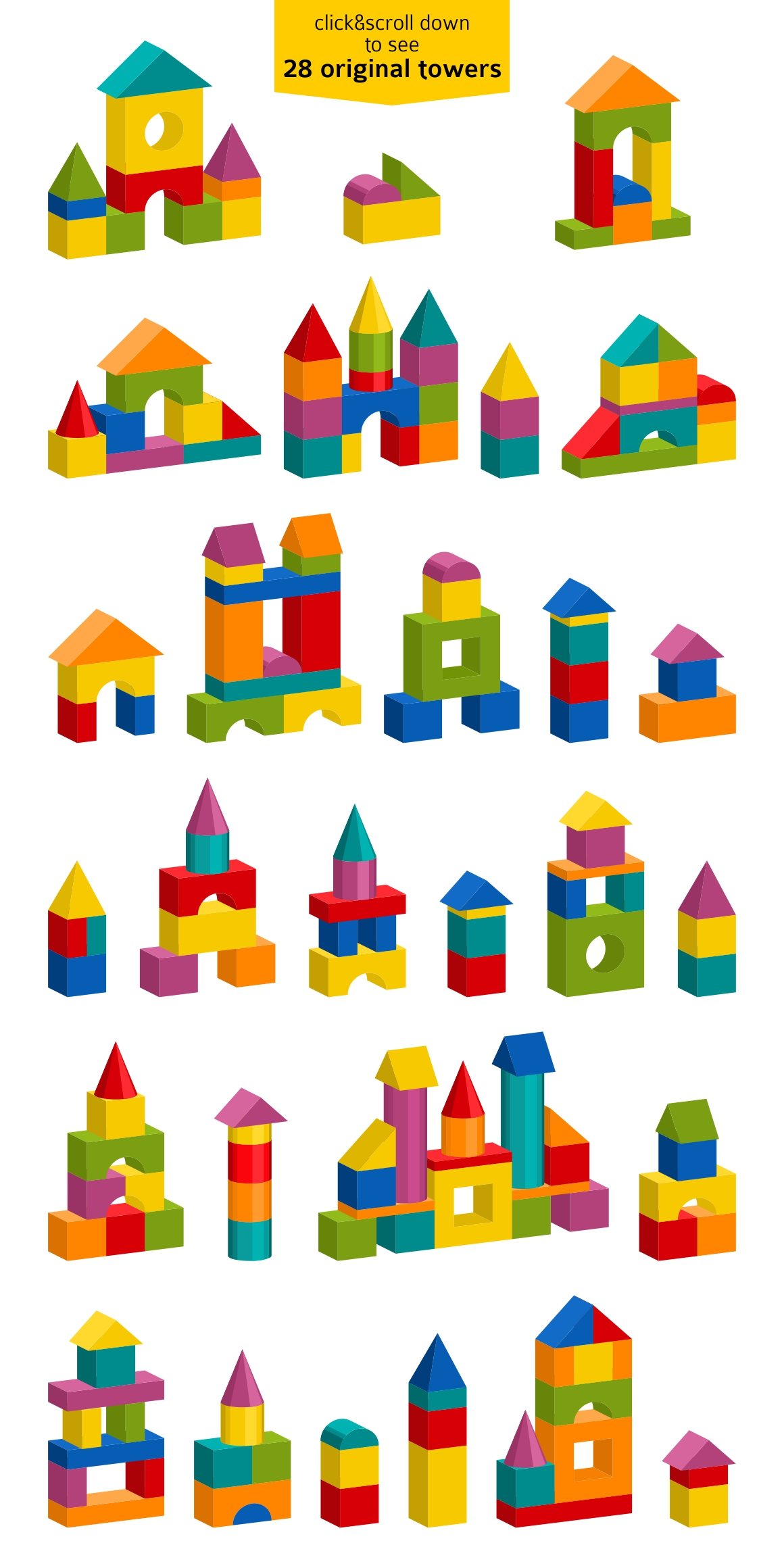 Toy blocks building towers example image 3