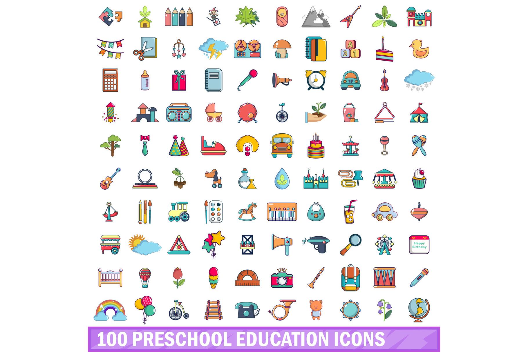 100 preschool education icons set, cartoon style example image 1