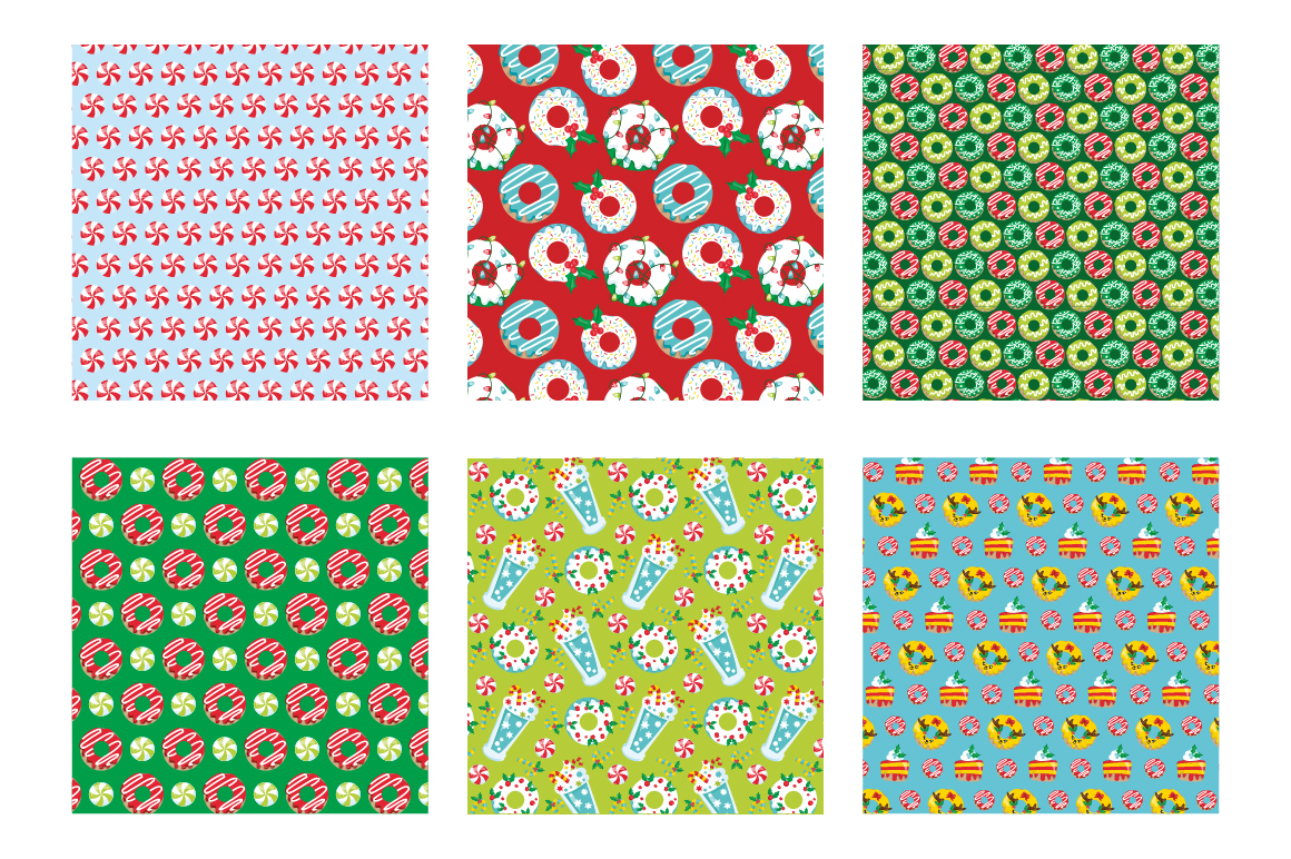 Christmas Sweets Pattern collection, vector ai, example image 3
