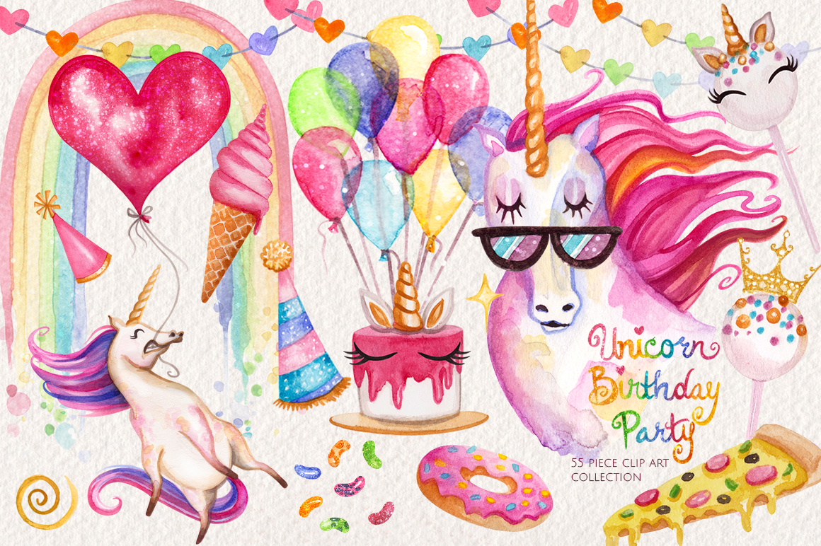 Watercolor Unicorn Birthday Party example image 1