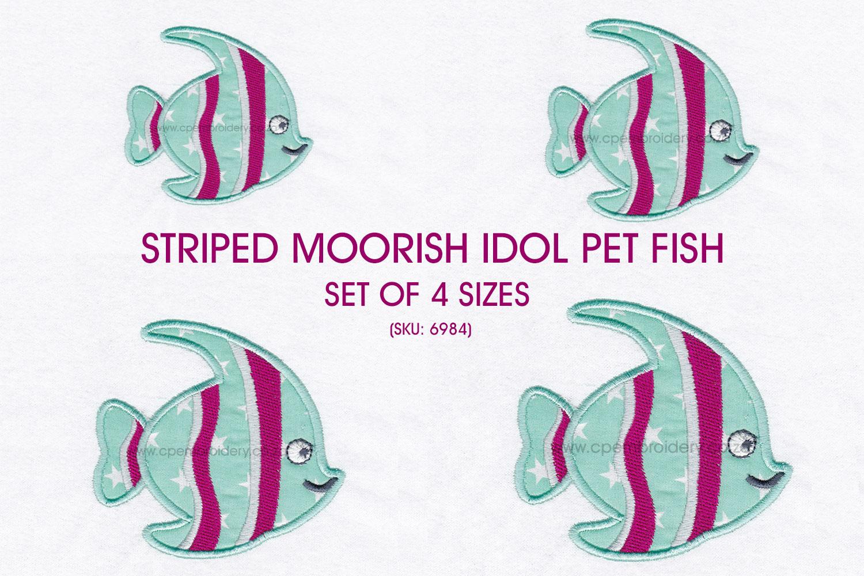 Striped Moorish Idol Pet Fish Applique Design example image 1