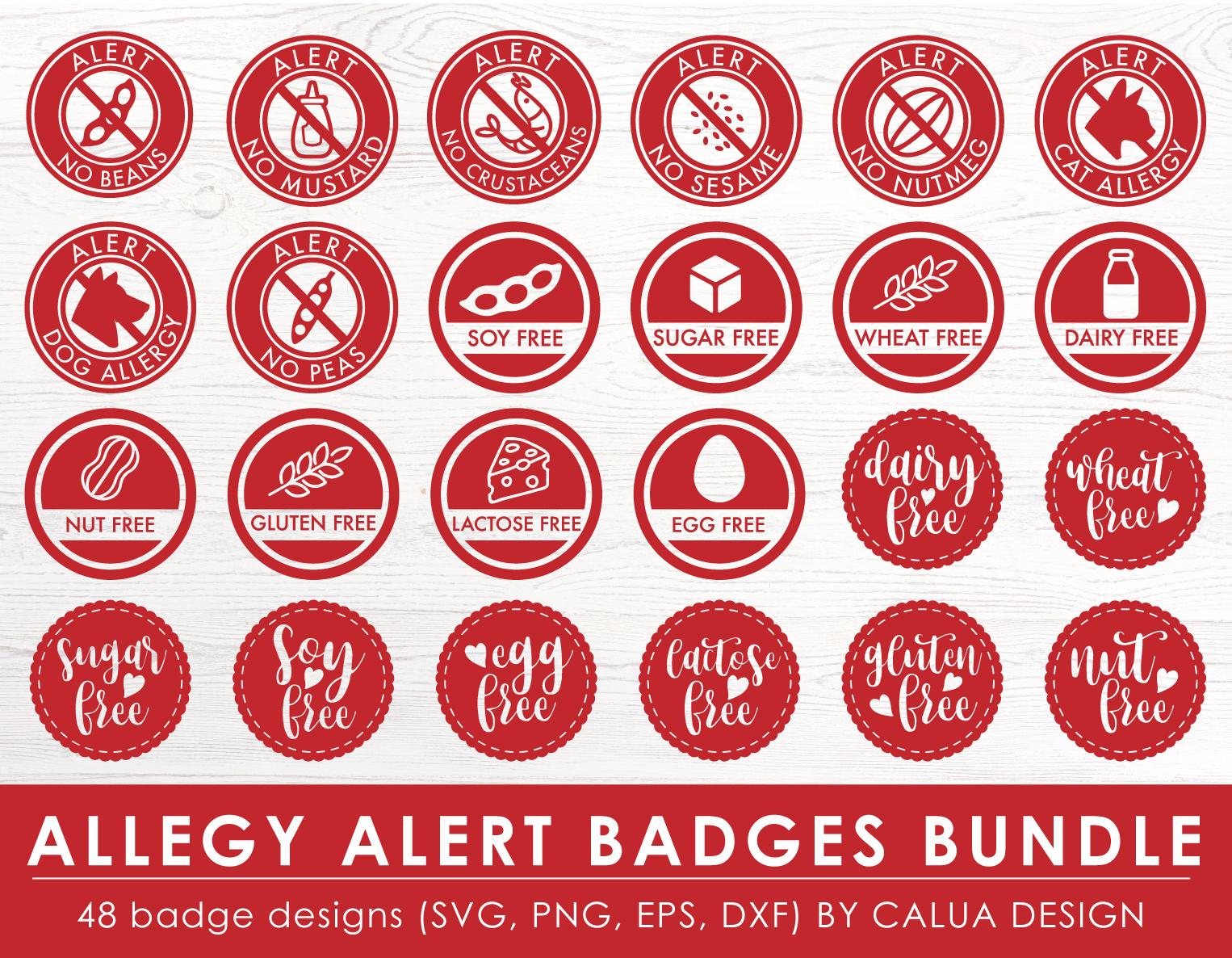 Allergy Alert Badges SVG Cut File Bundle example image 3