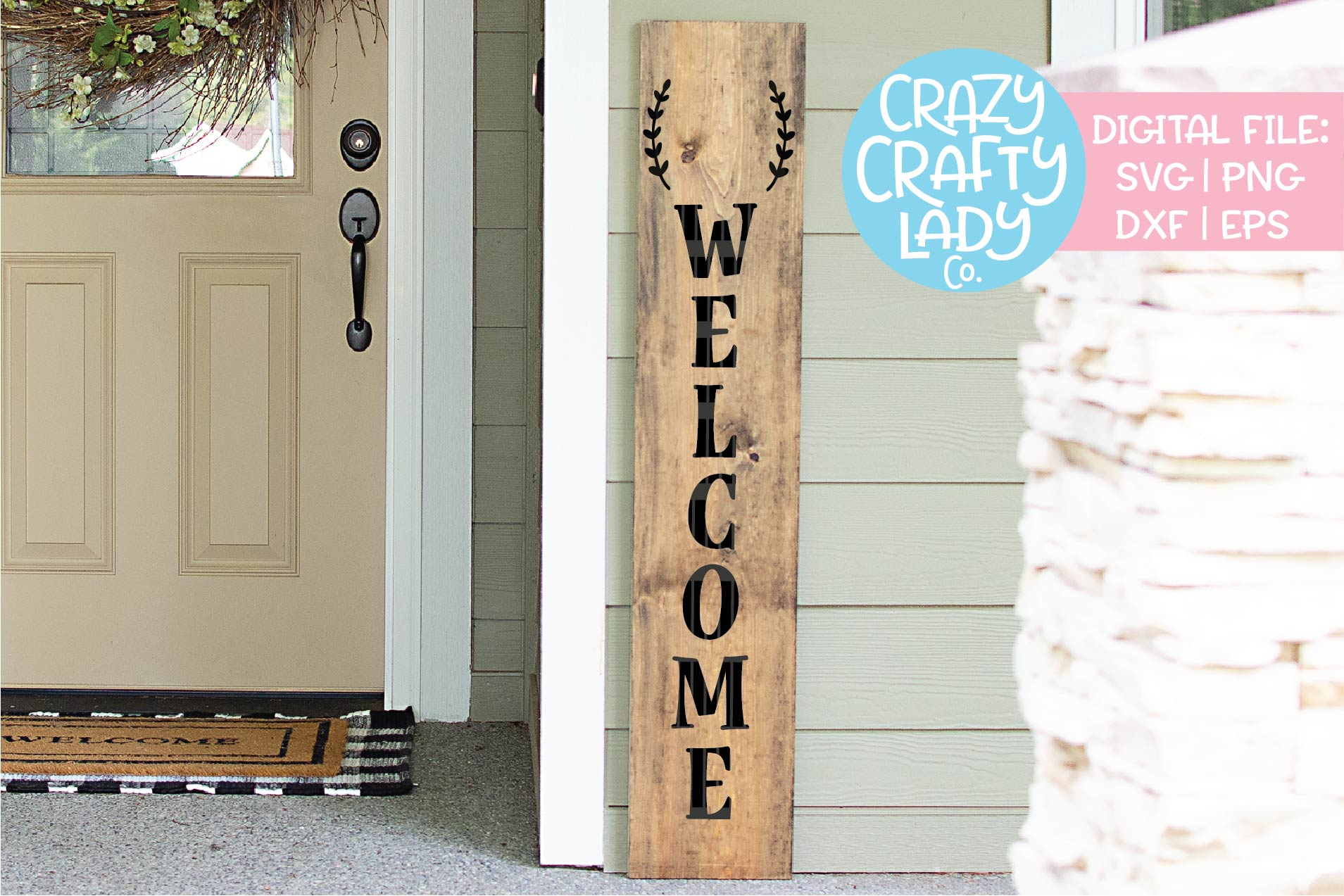 Welcome Porch Sign - Blank Laurel SVG DXF EPS PNG Cut File example image 2