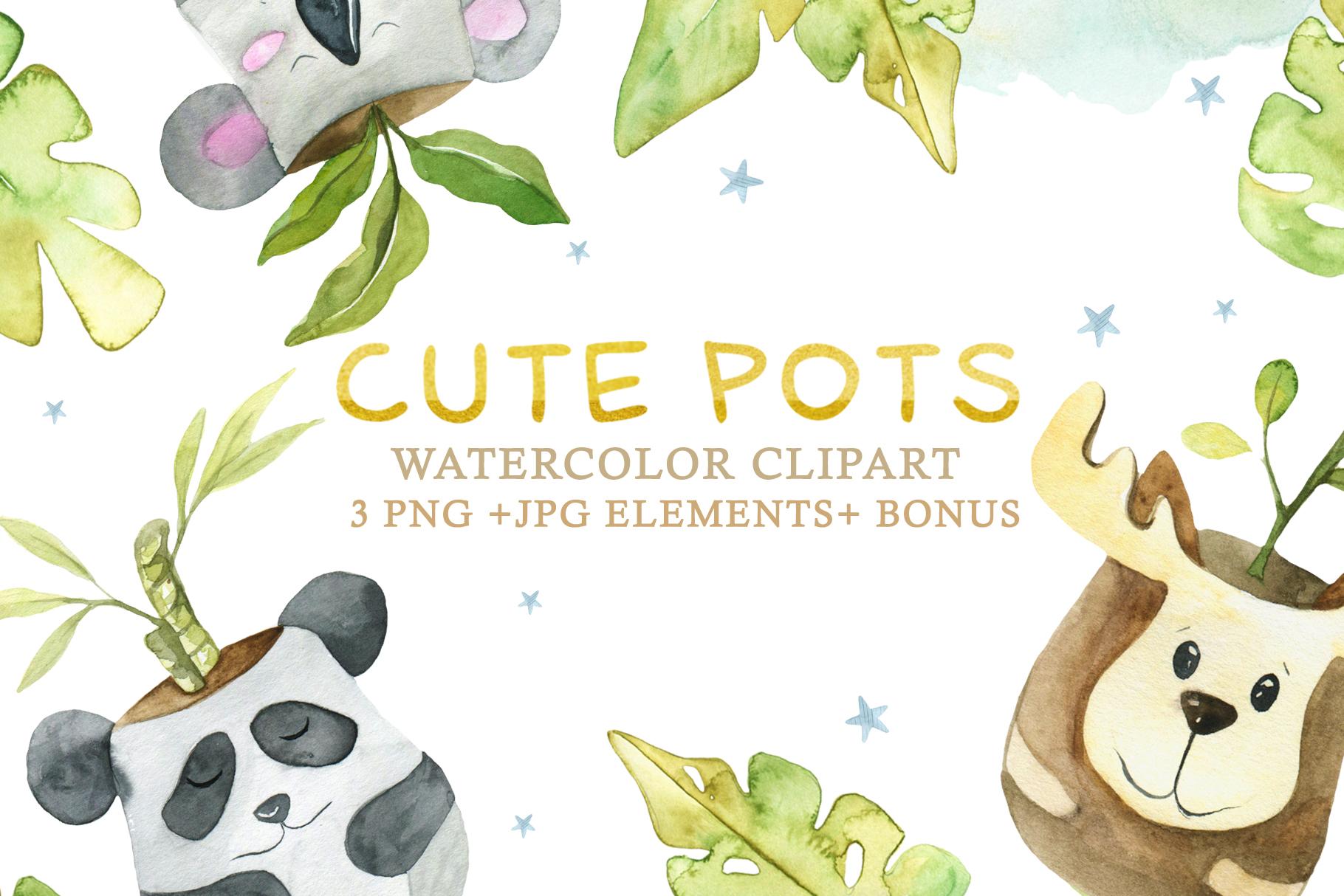 Cute Pots Watercolor Set example image 1