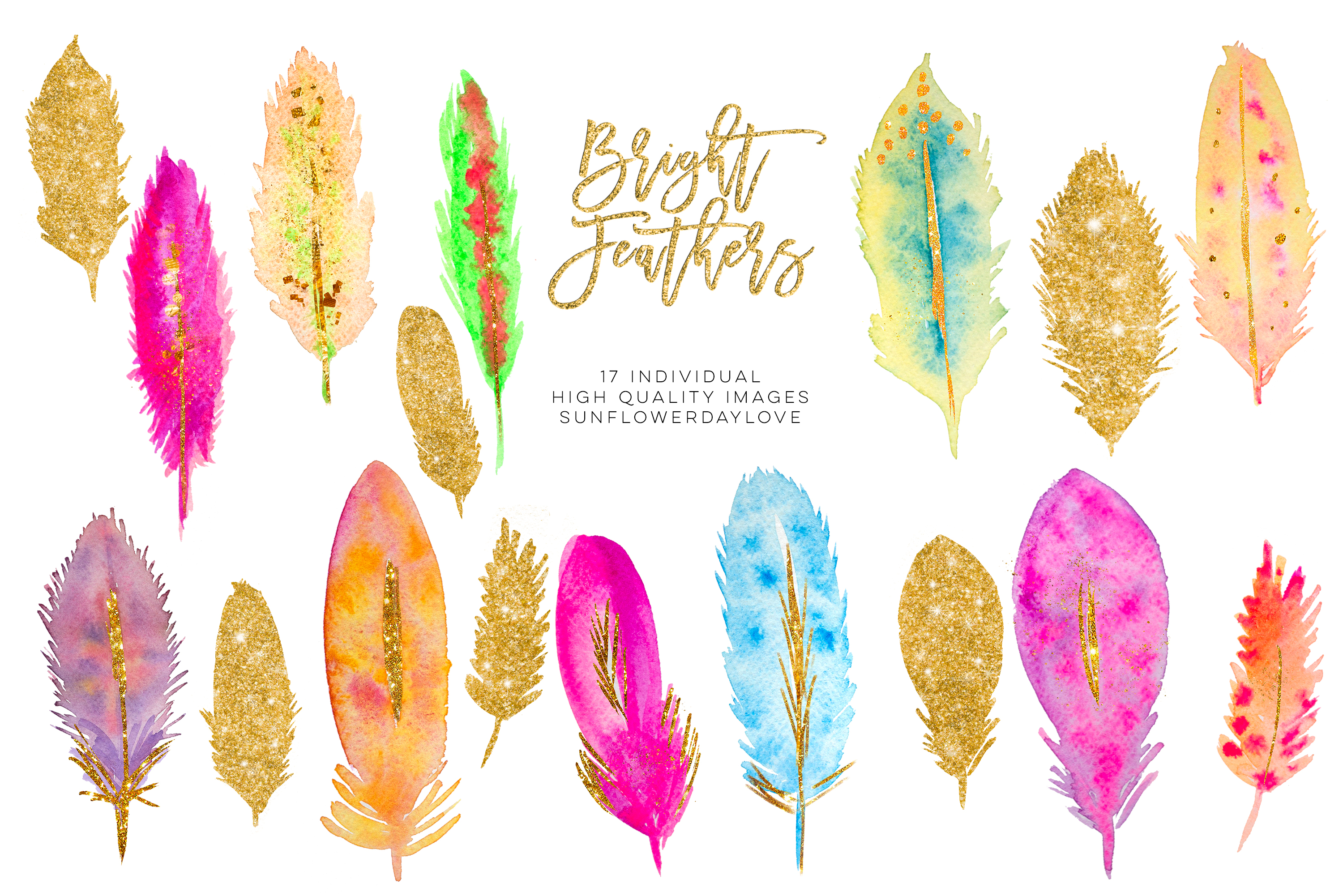 Watercolor Feathers clipart Download example image 2