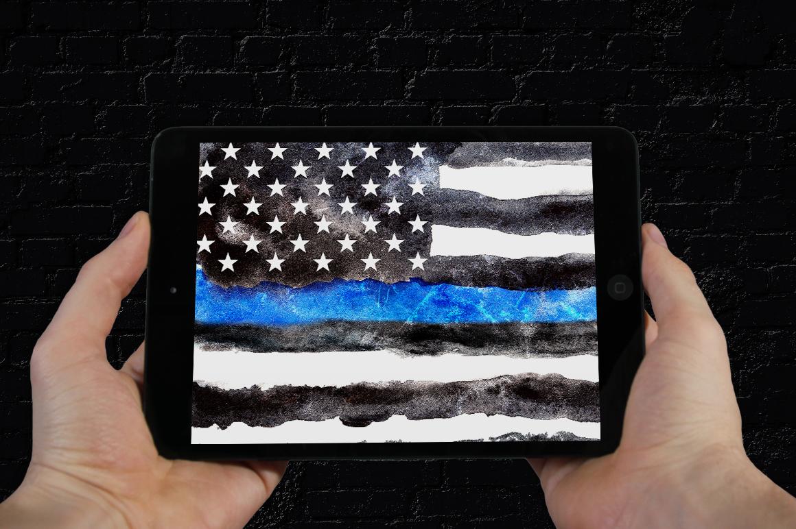 Police flag USA. Watercolor. example image 7