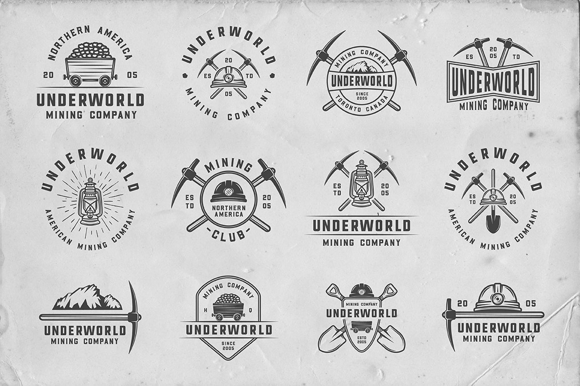 36 Vintage Mining Emblems part 2 example image 3