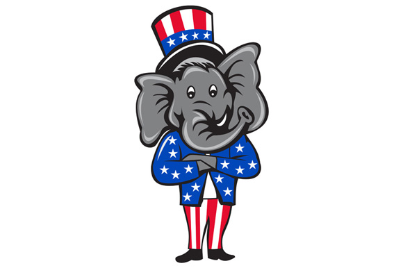 Republican Elephant Mascot Arms Crossed Standing Cartoon example image 1