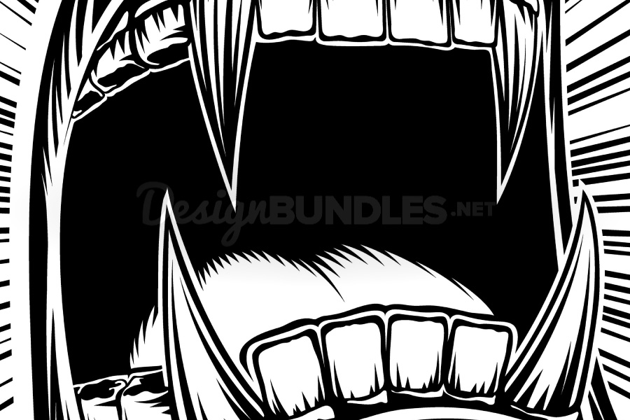 Vector Mouth Open Halloween Vampire Jaws Fang Stamp Print example image 3