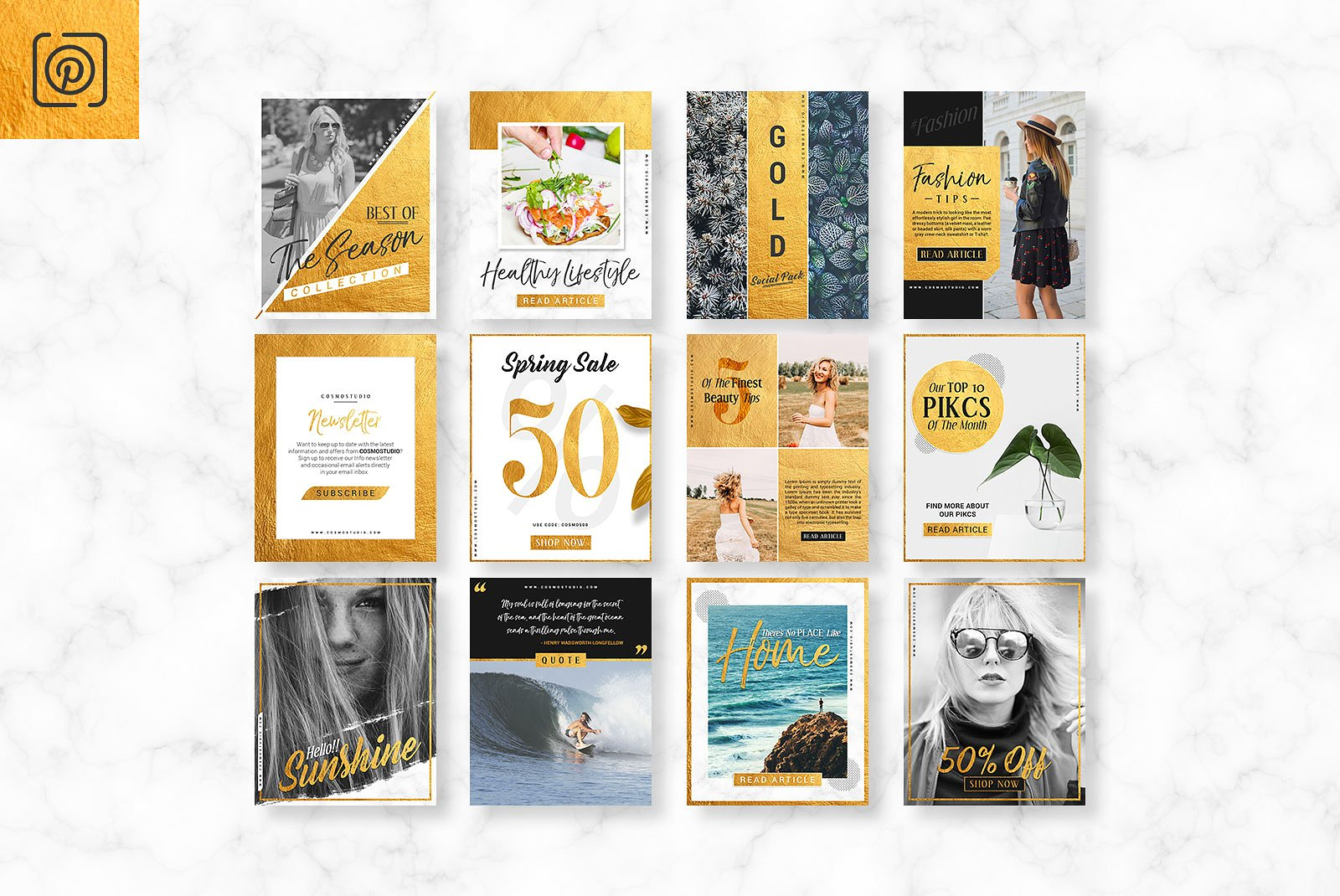 GOLD Social Media Pack example image 7