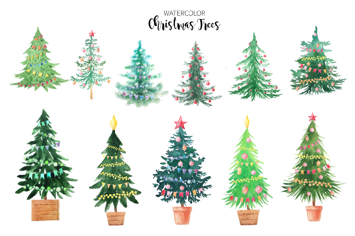Watercolor Christmas Trees example image 4