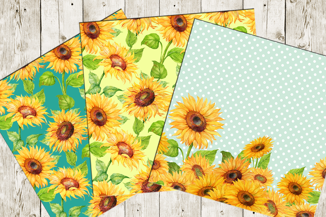 Watercolor digital Paper,Sunflower Pattern , Sunflower Background, Floral Digital Paper,  Sunflower Paper Watercolor paper example image 4