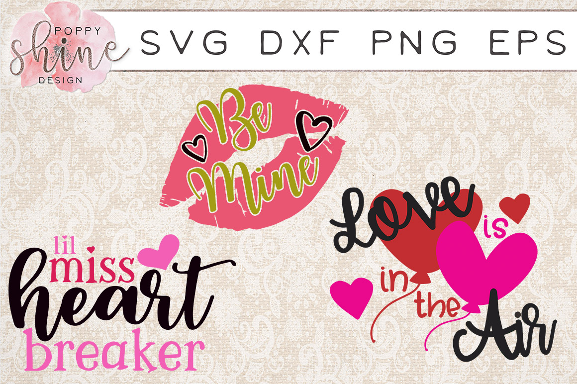Valentine's Day Bundle of 11 SVG PNG EPS DXF Cutting Files example image 2