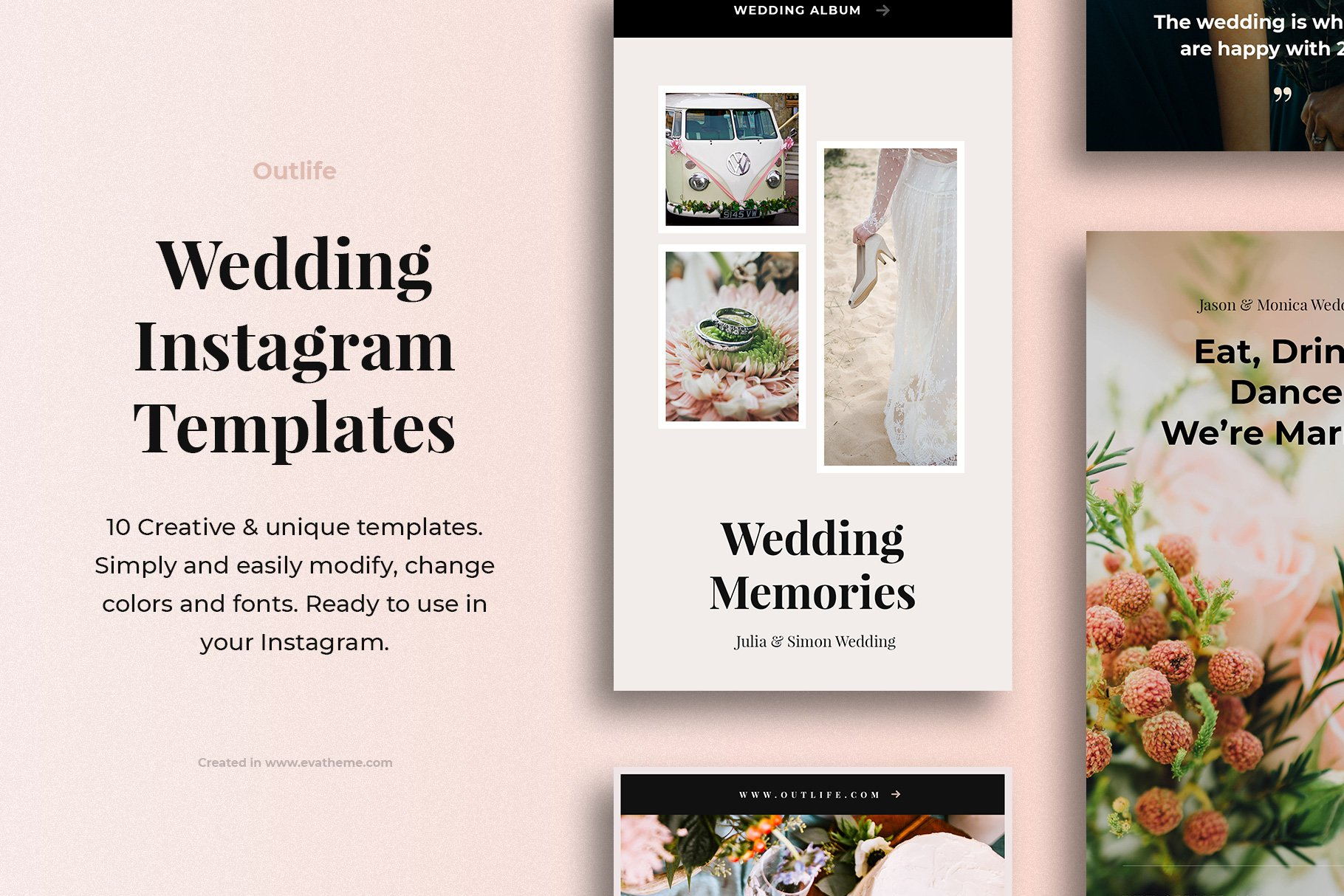 Outlife Wedding Instagram Templates example image 1