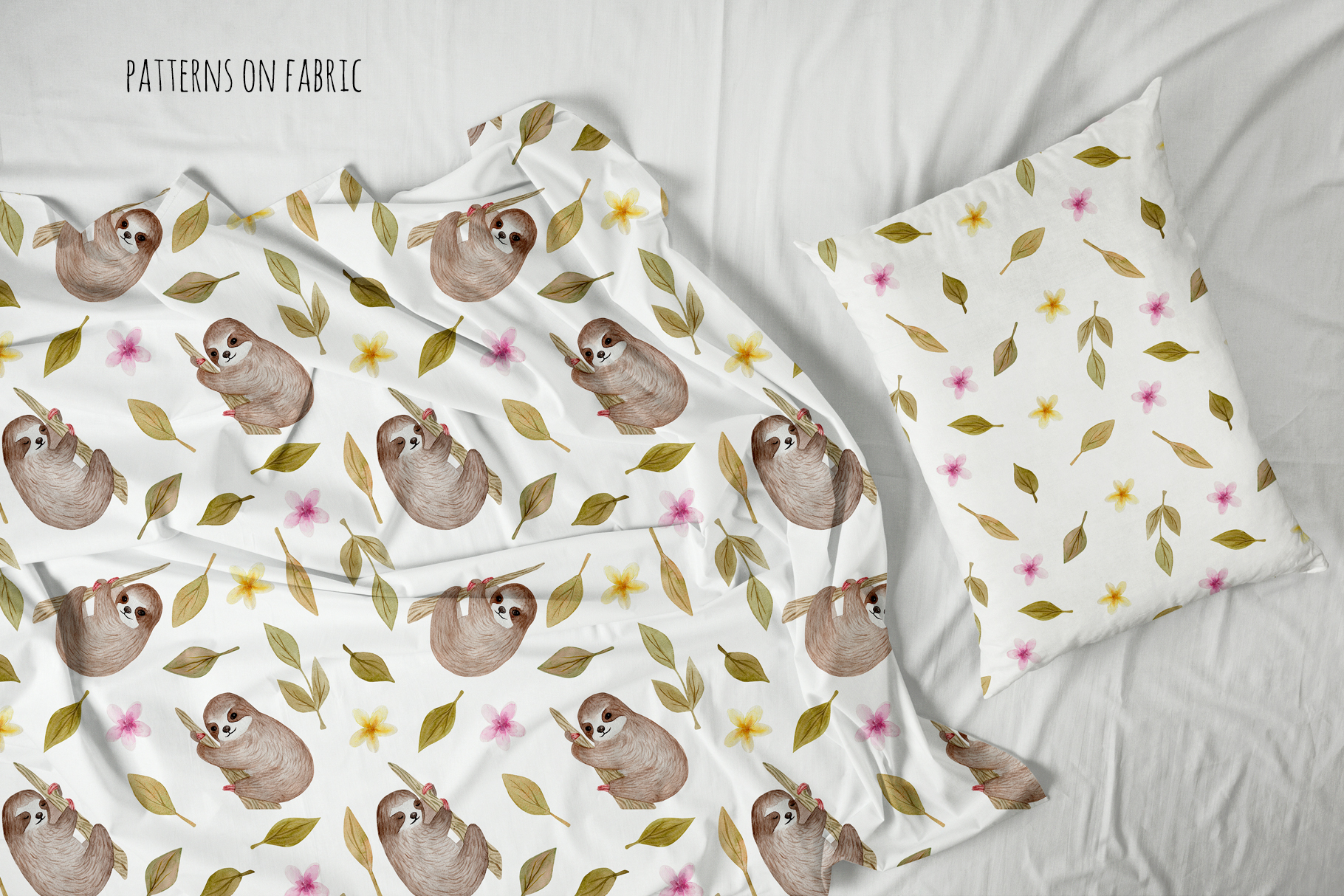 Cute Sloth. Watercolor Patterns example image 4