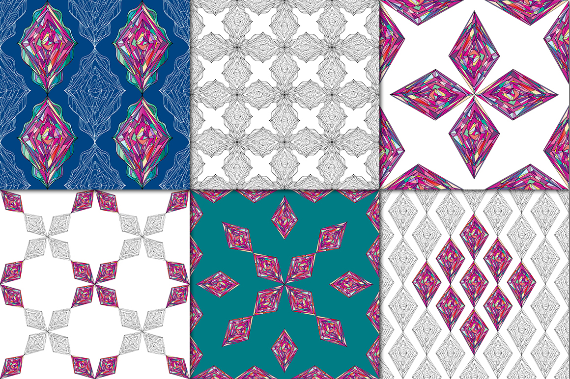 Ornaments diamonds patterns collection. example image 3