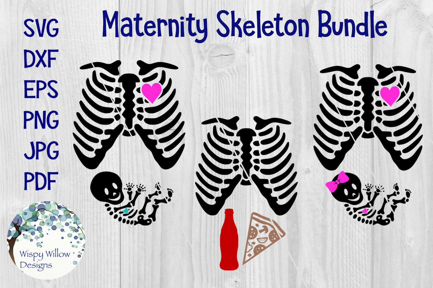 Maternity Mom and Dad Skeleton SVG Bundle | Halloween example image 1