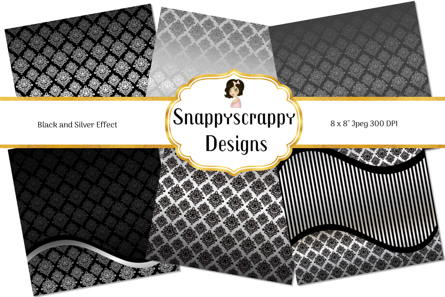 Black and Gold Decorative Background Paper Pack example image 2