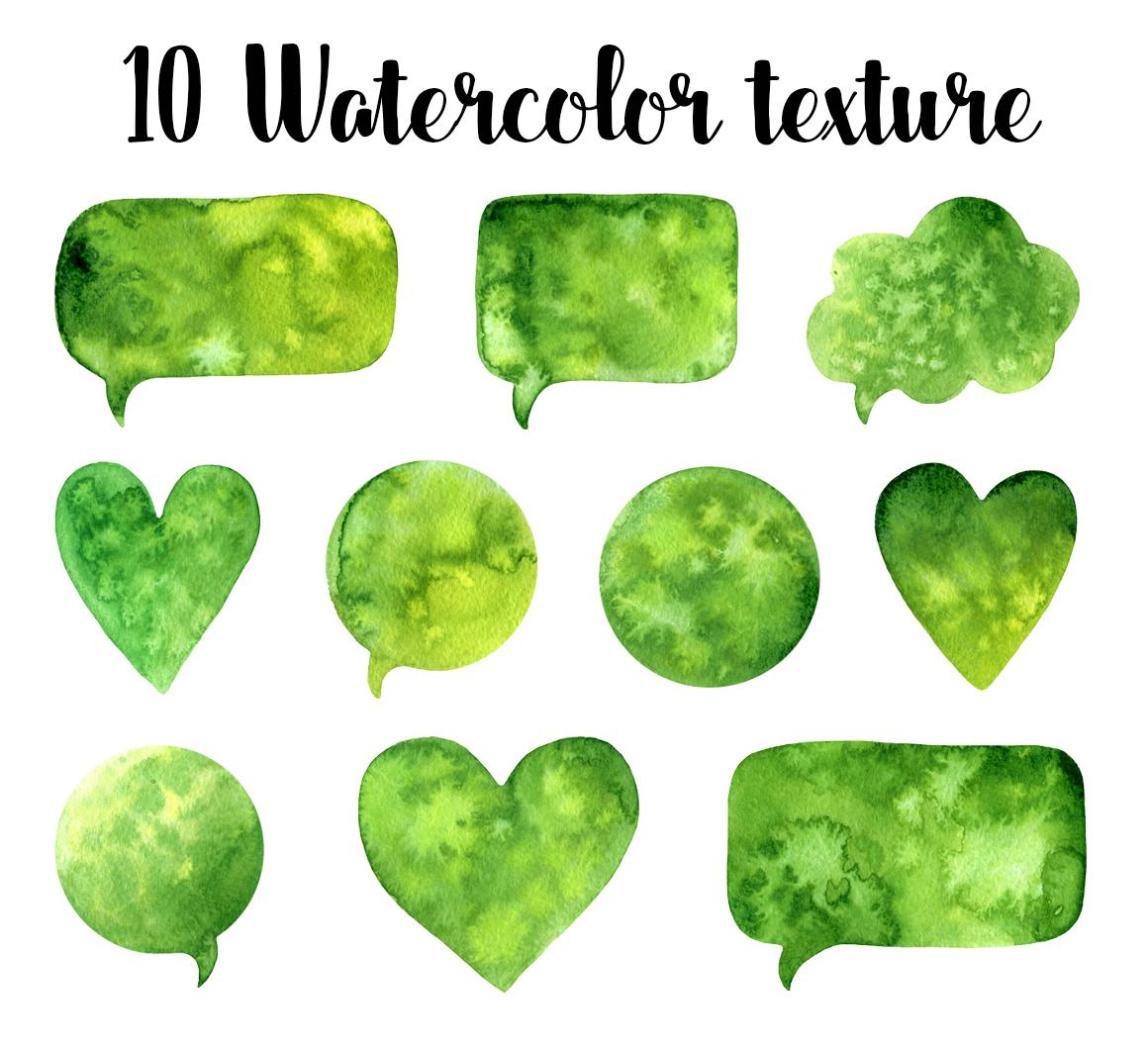 10 Green watercolor speech bubbles example image 1